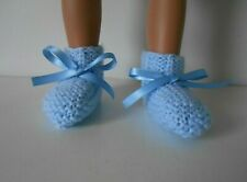 Hand Knit Blue Doll Booties to fit American Girl Bitty Baby