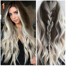 Fashion Womens Synthetic Wig Grey Long Wavy Full Lace Wigs Party Hair Wigs -60cm