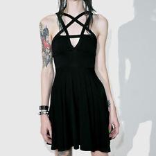 Women Gothic Pentagram Neck Dress Evening Party Mini Sundress Summer Skirt Black