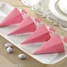 50 Elegant BABY PINK Wedding Engagement Party Gift Favour Pyramid Cone Boxes