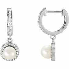 Freshwater Cultured Pearl & 1/5 ct. tw. Diamond Earrings In 14K White Gold