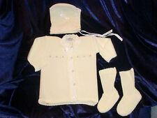 VINTAGE HEIDI  BABY GIRL CARDICAN SWEATER BONNET CAP HAT BOOTIES 0-3-6 NEW