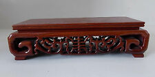 Red wood rectangle Pedestal carved Shou Display stand vase teapot statue Base S