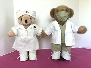"Tender Heart Treasures, Mr & Mrs 12"" Medical Bears/Scrubs & Red Cross Outfits"