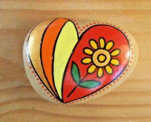 Hand painted rocks, stones, pebbles. Love heart with flower fridge magnet.