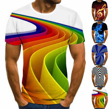 Camiseta Hombre 3D Presión Cuello L ~ 3XL Ropa Manga Corta Partes de Arriba
