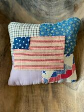 New listing Primitive Stitchery Hand Stitched Vintage Quilt Prim Flag Ornie