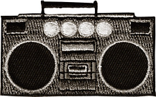 19623 Boom Box Ghetto Blaster Speakers Retro 80s Music Embroidered Iron On Patch