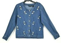 Agapo Womens Denim Button Front Long Sleeve Scoop Neck Cotton Jacket Size M