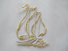 #3428S Gold,Silver Ship,Sail,Flag,Ocean Embroidery Iron On Applique Patch