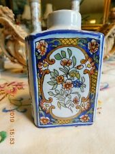 French Faience Fourmaintraux Courquin Desvres  Hand Painted Tea Caddy