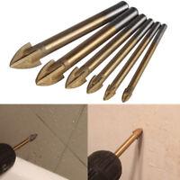 4-12mm HSS Titanium Tungsten Carbide Tile Glass Cross Spear Head Drill Bit UK