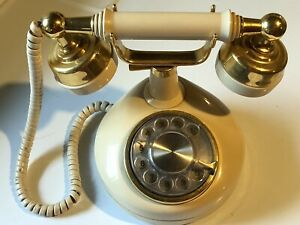 Vintage Rotary Dial French Style Desk Phone Western Electric Vintage Cream Gold