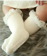 Girls Kid Baby Creamy Ivory White Frilly lace leg Warm Long Dress Socks Tights