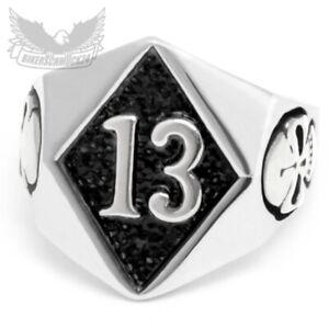 Lucky 13 Ring silber 316L Edelstahl Glückszahl Glücksbringer Totenkopf Bikerring