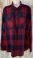 Lucky Brand Popover Shirt Blouse Top Red Blue Womens Plaid Top Size XL