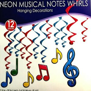 Neon Foil Musical Note Whirls 12 Piece Set! 6 Note Whirls + 6 Accent Whirls! NEW