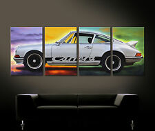 Pop Art Porsche 911 CARRERA RS TITANIO Cuadro Lienzo Pared malereistil PLATA