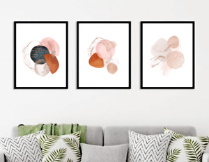Abstract wall art prints Set of 3 Earthy brown modern terra cota wall decor x678