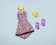 WILD! Purple Yellow Pink Leopard Print Genuine BARBIE Short Dress w/ Heels