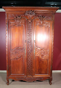 Carved French Country Louis XV Solid Teak Armoire Wardrobe