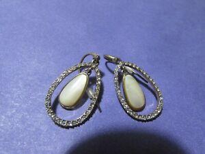"""VINTAGE MONET 1 1/4"""" rhinestone hoop pierced earrings w/cream teardrop stone"""