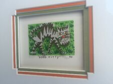 "James Rizzi: original 3D Werk ""GOOD KITTY"", Mini 1990, handsigniert, gerahmt"