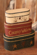 New Primitive COUNTRY WELCOME Star Heart Vine Storage Nesting Stacking Boxes