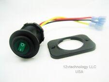 Waterproof Rocker Toggle Switch SPST Boat Socket 12v Panel Round LED Green Panel