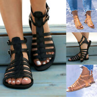 Womens Ankle Strap Buckle Roman Flat Gladitator Summer Sandals Flats Shoes Size