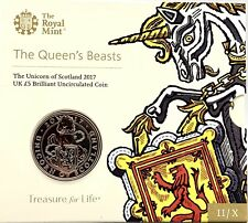 2017 Queens Beasts The Unicorn of Scotland BU Five Pound £5 coin pack, SEALED
