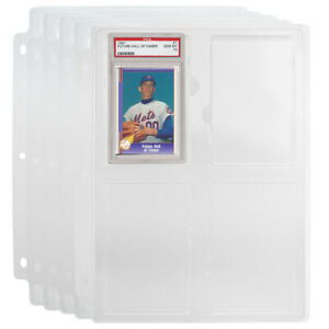 5 PSA Graded Card Holders Slab Binder Pages Ultra Sturdy Pro Baseball Storage