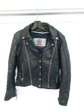 BLACK LEATHER MOTORCYCLE JACKET STUDS LACES LOVE LEATHERS SIZE M BIKER