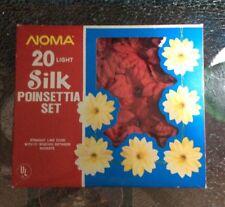 Vintage Silk Poinsettia 20 Set Christmas Lights Tree Decor