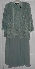 R & M Richards  2 Piece Sage Lace Embellished Dress & Jacket Size 8 NWT
