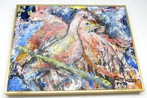 Sane Wadu Painting Acrylic on Canvas Two Little Doves Framed Signed