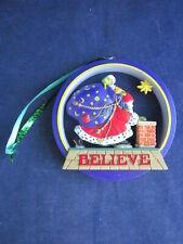Mary Engelbreit Christmas Ornament Believe Santa Round ~ Excellent