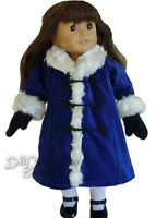 Blue Velveteen Coat & Black Mittens made for American Girl Samantha Doll Clothes