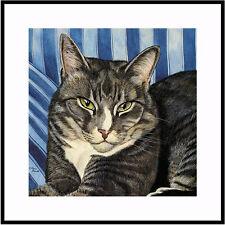 BOOTSIE- GRAY TABBY CAT ART MATTED MINI PRINT BY DREW STROUBLE CATMANDREW