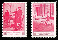 RARA SERIE 2 VALORI DA LIRE 50 CROCE ROSSA PRO CANI GUIDA STAMPS RED CROSS
