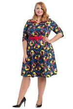 Vestiti da donna maniche a 3/4 multicolore lunghezza al ginocchio
