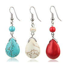 Turquoise Dangle Earrings Ethnic Retro Featured Texture Stone Earrings for Women