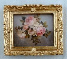 Dolls House Miniature Bunch of Pink Roses Painting Gold Frame