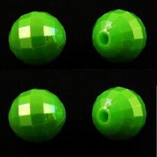 100 X 8 mm verde acrílico redonda con cuentas facetado AB