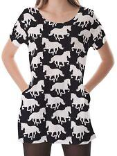 Horses Silhouette Women Scoop Neckline Pockets Top Shirt Blouse b16 acr02593