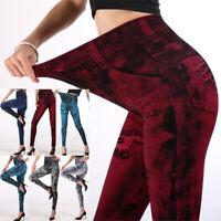 Women Jeans Pants High Waist Leggings Punk Jeggings Denim Trousers S-2XL