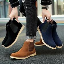 Men Slip on Ankle Boots Suede Leather Chelsea Boots Casual Winter Warm Shoes NEW