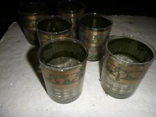 6 Mid Century Cora High Ball Glasses Green Greek  Pillars Gold Leaves Grapes