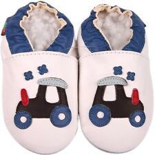shoeszoo soft sole leather baby shoes golf car white 6-12m S