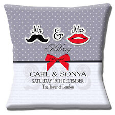 PERSONALISED WEDDING KEEPSAKE Names Date Time Venue GREY 16 Pillow Cushion Cover